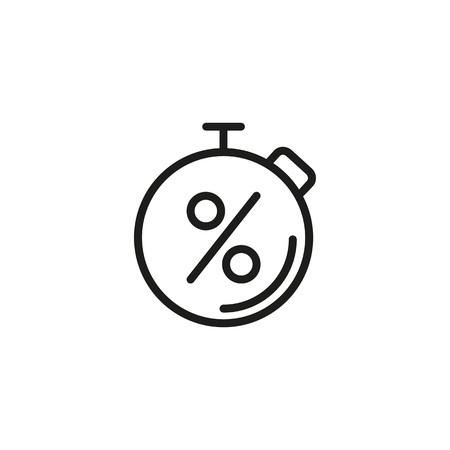 Ikona linii stopera i znaku procentowego Ilustracje wektorowe