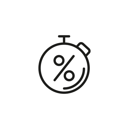 Stopwatch and percentage sign line icon