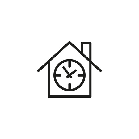 Time house line icon
