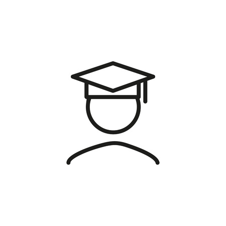 Icon of graduate student. School, knowledge, success. University concept. Can be used for topics like achievement, graduation ceremony, academy