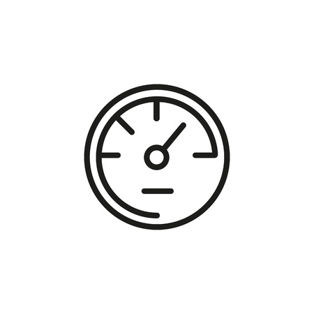 Icon of speedometer with arrow. Gauge, instantaneous speed, measurement. Fast car concept. Can be used for topics like vehicle, dashboard, acceleration