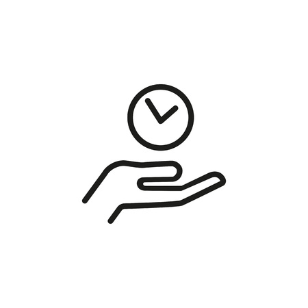 Hand holding clock line icon. Person, watch, palm. Timing concept. Can be used for topics like personal schedule, time management, planning.