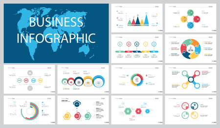 Colorful logistics or banking concept infographic charts set Vettoriali