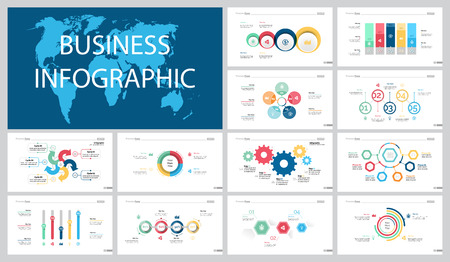 Colorful marketing or production concept infographic charts set