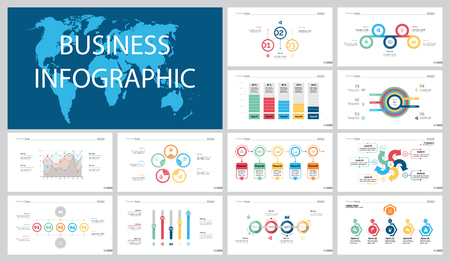 Colorful statistics or finance concept infographic charts set