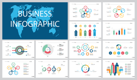 Colorful workflow or teamwork concept infographic charts set Illustration