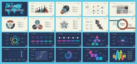 Set of analysis or statistics concept infographic charts Illustration