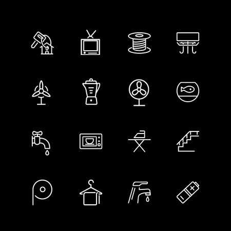 Set of household line icons