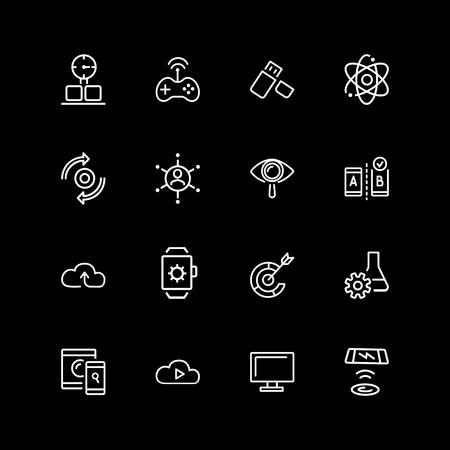 Set of digital device, gamepad line icons Illustration