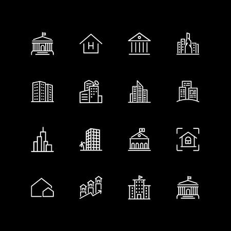 Set of establishment, city building line icons