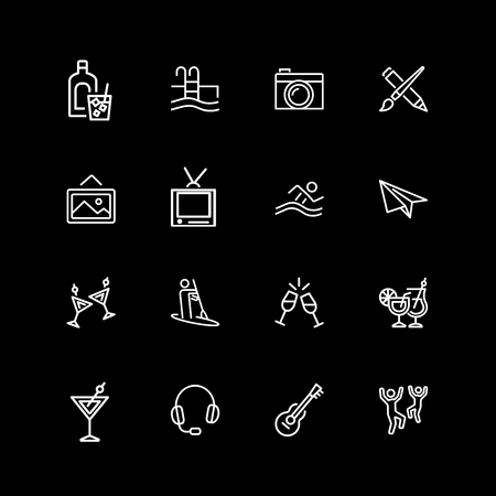 Set of hobby, activity line icons