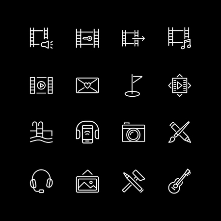 Set of hobby, music, photo line icons