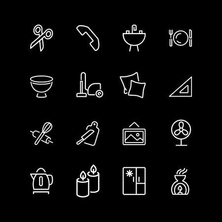 Set of household, home decor line icons 矢量图像