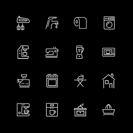 Set of housekeeping line icons