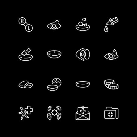 Set of optometry line icons Illustration