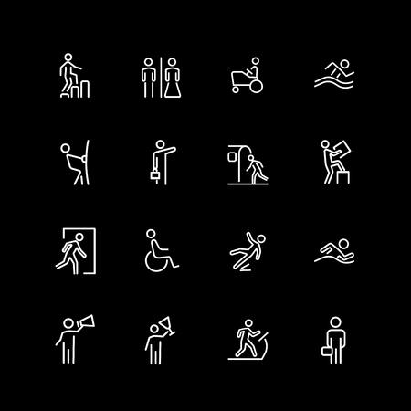 Set of people, sign, gesture line icons Illustration