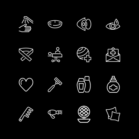 Set of personal and medical care line icons Illustration