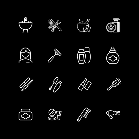 Set of personal care and beauty line icons