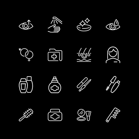 Set of personal care line icons