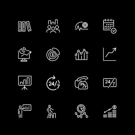 Set of planning and business hours line icons