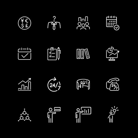Set of project management line icons