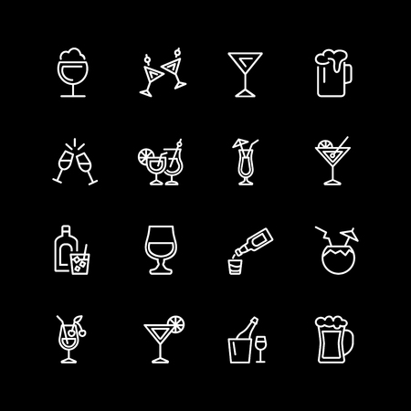 Set of alcohol, strong drink, cocktail line icons