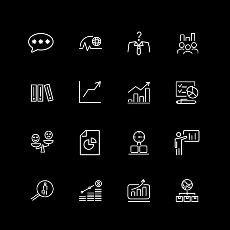 Set of business, startup line icons Illustration