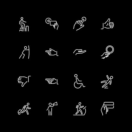 Set of gesture, signs, direction line icons Illustration