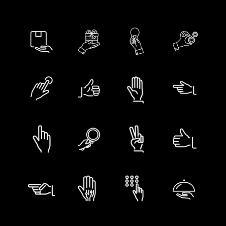 Set of hands and gesture line icons Illustration