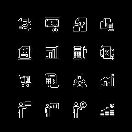 Set of business, startup, management line icons