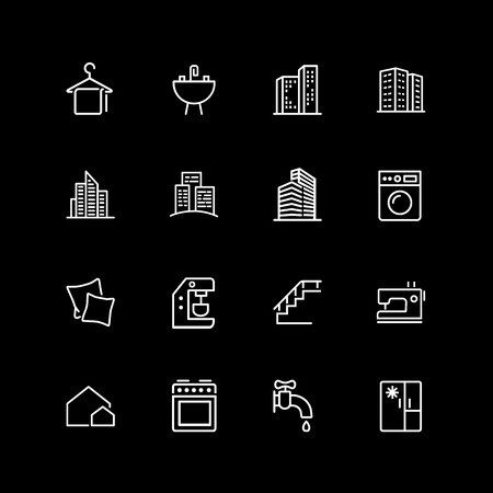 Set of housing and household appliance line icons