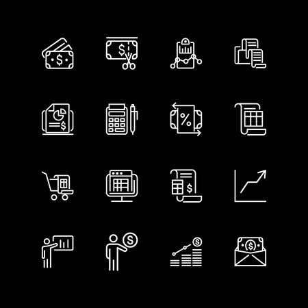 Set of investment, budget, plan line icons Illustration