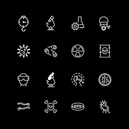 Set of lab test line icons Illustration
