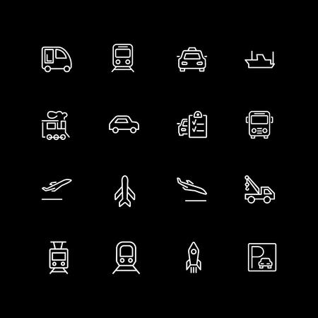 Set of vehicle, car, train line icons