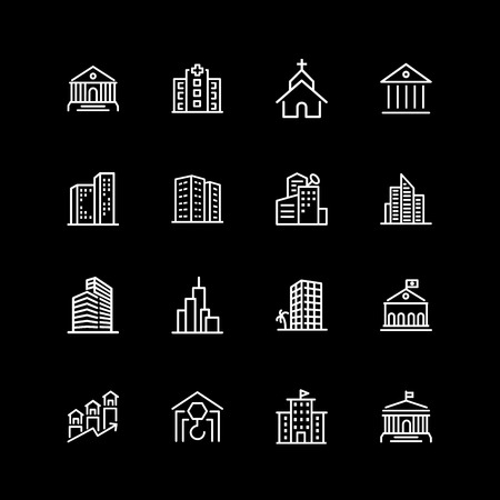 Set of city buildings line icons