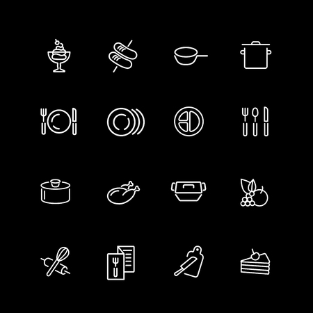 Set of cooking and serving line icons. Illustration