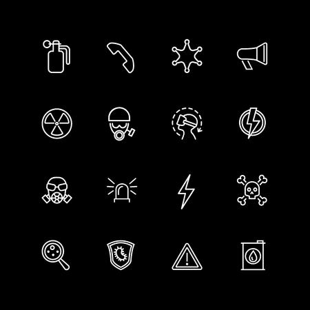 Set of danger sign line icons