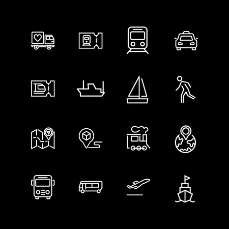 Set of vehicle, ticket, route line icons