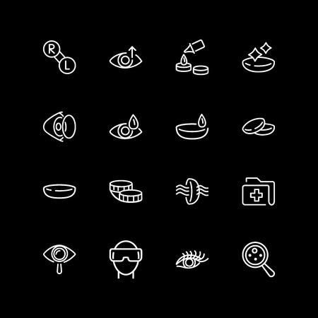 Set of eyes care line icons