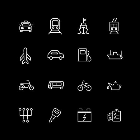 Set of vehicle, travel, car service line icons Illustration