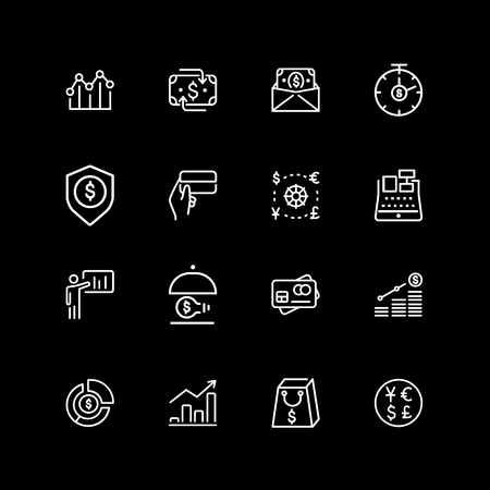 Set of finance, currency, insurance line icons Illustration