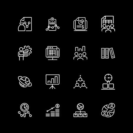 Set of financial management line icons Illustration