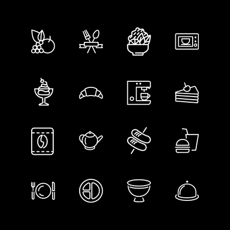 Set of meal, dish, menu line icons