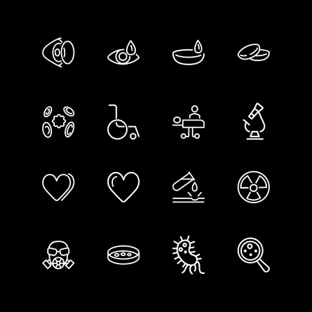 Set of medical care, virus, lab line icons Illustration