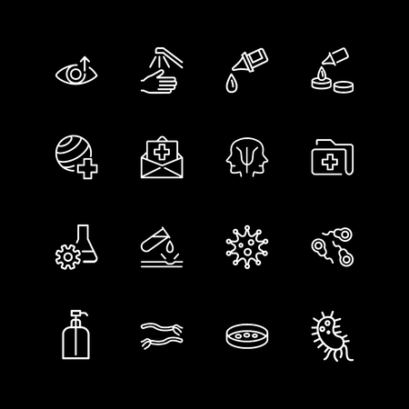Set of medicine, laboratory, personal care line icons