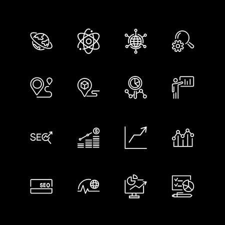 Set of seo analytics line icons