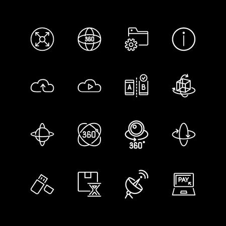 Set of storage system, vr content line icons Illustration