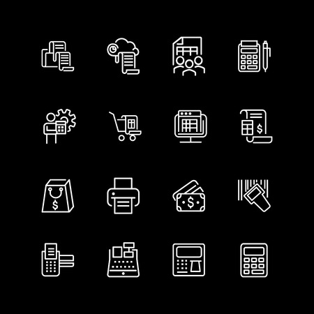 Set of transaction, payment line icons