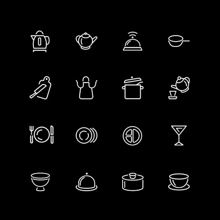 Set of utensil, kitchen tool line icons