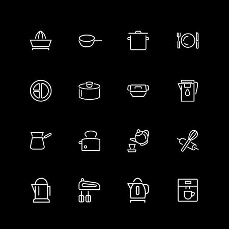 Set of utensil, tool line icons Vektoros illusztráció